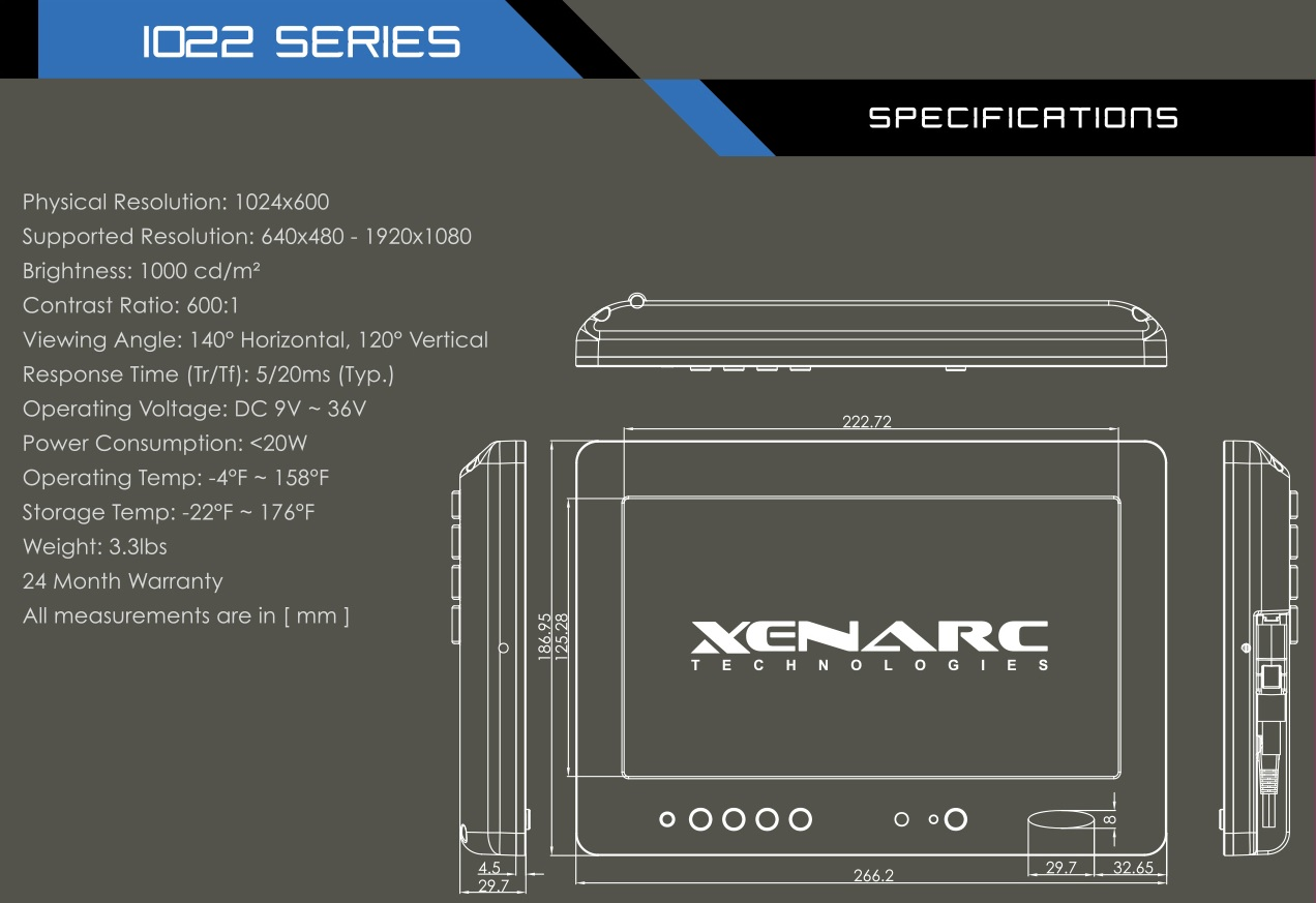"https://www.xenarc.com/1029GNH.html - 10.1"" IP67 Sunlight Readable Optical Bonded Capacitive Touchscreen LCD Industrial Display Monitor w/ HDMI, DVI, VGA & AV Inputs"