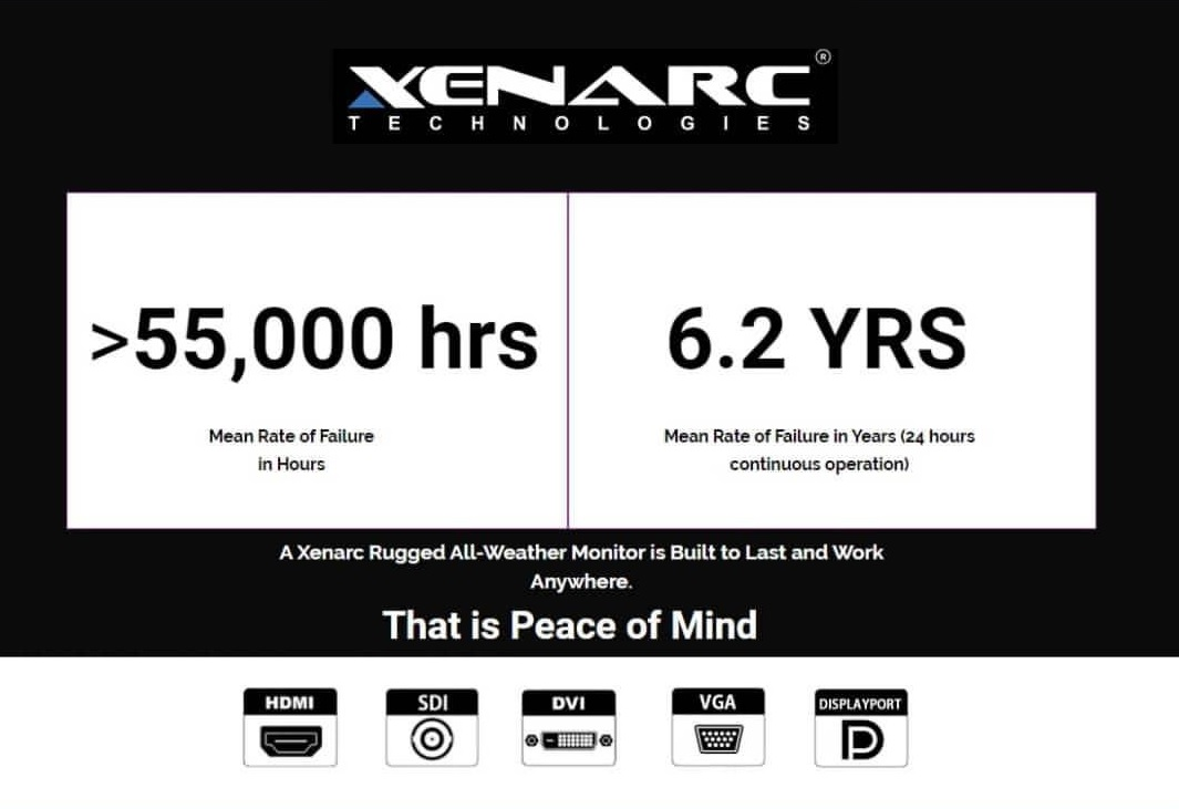 Xenarc = Peace of Mind.  A Xenarc Rugged Monitor is built to last.  Mean Rate Between Failure is more than 55,000 hours or 6.2 Years of continuous Operation.  Plus it comes with a 3 Year Manufacturer's Warranty.   Xenarc = Peace of Mind www.xenarc.com